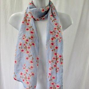 H&M Scarf Cherry Blossom Print Blue Background